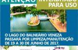 Prefeitura de Caxias realizará limpeza e manutenção do Lago Balneário Veneza